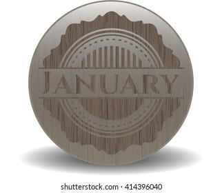 January wooden emblem