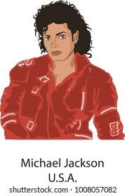 January,23,2018: Caricature character illustration of Michael Jackson