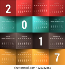 January-December for Calendar 2017 year.Week starts Sunday. Vector design stationery template layout illustration.Yearly calendar template set 12 months  Print artwork,Origami paper concept.