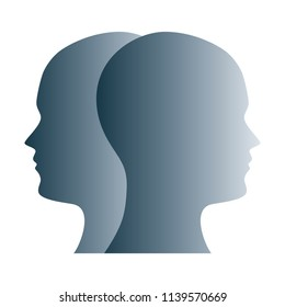 Janus face symbol made of gray silhouettes of two heads. Two overlapping heads as sign for duality, anxiety, uncertainty and other psychological problems and questions. Illustration over white. Vector