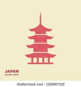 Japan architecture symbol pagoda. Flat stylized icon with the effect of scuffing