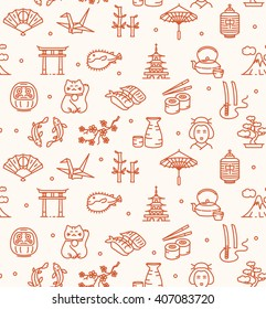 Japan Background Seamless with Icons Outline. Vector illustration