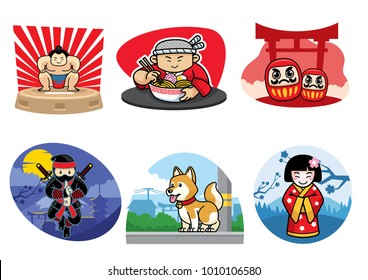 japan badge design set