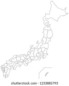 Japan blank map (outlined)