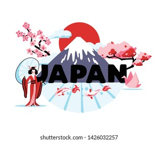 Japan cartoon composition representing national culture and traditions of rising sun country vector illustration