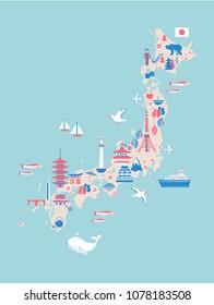 Japan cartoon travel map, vector illustration landmark Kinkaku JI temple, Itsukushima Shrine, Tokyo tower, Mountain Fuji, Kyoto Tower, Buddha Kamakura, Nagoya Castle, japanese symbols pagoda, sakura