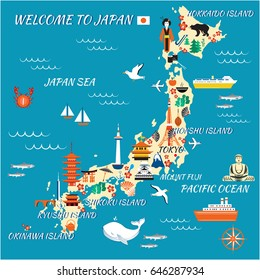 Japan cartoon travel map, vector illustration, landmark Kinkaku JI temple, Itsukushima Shrine, Tokyo tower, Confucius temple, Mountain Fuji, Kyoto Tower, japanese symbols sakura, pagoda, umbrella, fan