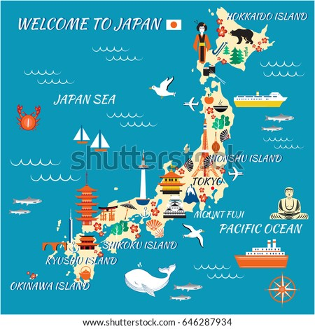 Japan Cartoon Travel Map Vector Illustration Stock Vector Royalty