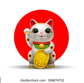 Japan cat or Maneki Neko cat. mascot Lucky cat