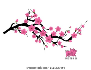 фотообои Japan cherry blossom branching tree vector illustration. Japanese invitation card with asian blossoming plum branch