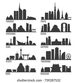 Japan Cities Most Famous Skyline City Silhouette Design Collection Set Pack