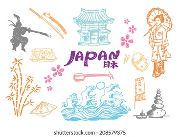 Japan Cultural hand sketch collection 2. Vector artwork