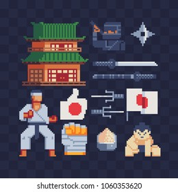 Japan culture pixel art icons set part 3, asian temple pagoda, karate sumo and ninja character japanese weapon, isolated vector illustration. Design for sticker logo and mobile app. Game asset 8-bit.
