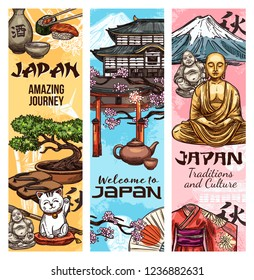 Japan culture and traditional symbols and landmarks, vector banners. Japanese Fuji mount, temple and Buddha statue with geisha kimono, sushi and sake, tea ceremony and torii gate, sakura and bonsai