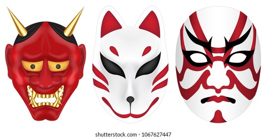 japan devil fox and kabuki mask set