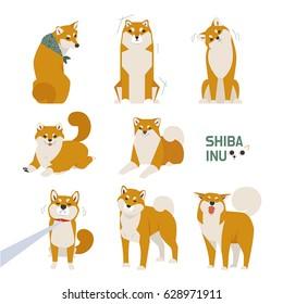 japan dog shiba inu character vector illustration flat design