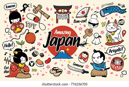 Japan Doodles Cartoon Vector