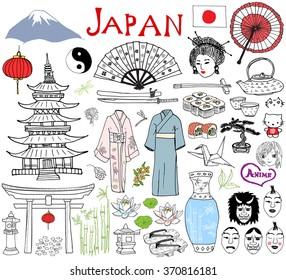 Japan doodles elements. Hand drawn sketch set with Fujiyama mountain, Shinto gate, Japanese food sushi and tea set, fan, theater masks, katana, pagoda, kimono. Drawing collection, isolated on white.