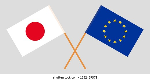 Japan and EU. The Japanese and European Union flags. Official colors. Correct proportion. Vector illustration