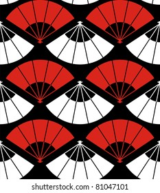 Japan fan abstract background in red, white and black. Vector file also available.