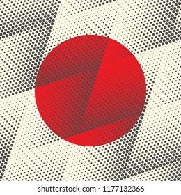 Japan Flag Background. Vector Halftone Pattern