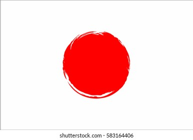 Japan flag, brush stroke background. Grunge style vector icon.