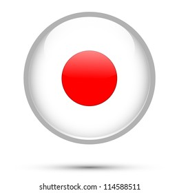 Japan flag button isolated on white