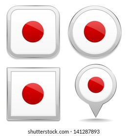 Japan flag buttons