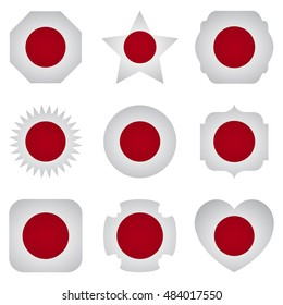 Japan flag with different shapes on a white background