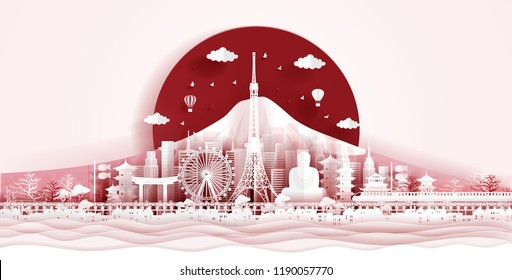 Japan flag and famous landmarks in paper cut style vector illustration.