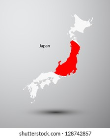 Japan flag on map of country