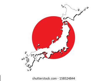 Japan flag on map of country vector images