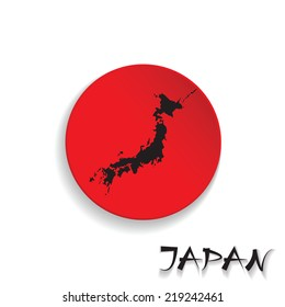 Japan flag on map of country background. vector illustration