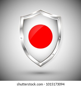 Japan flag on metal shiny shield vector illustration. Collection of flags on shield against white background. Abstract isolated object.