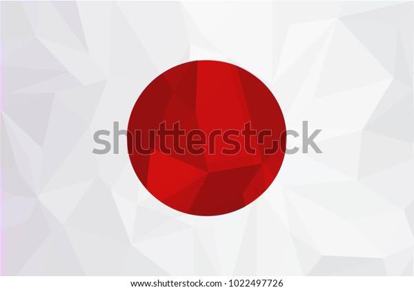Japan flag on a textured background.The flag of Japan. Vector illustration.