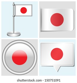 Japan flag - set of various sticker, button, label and flagstaff