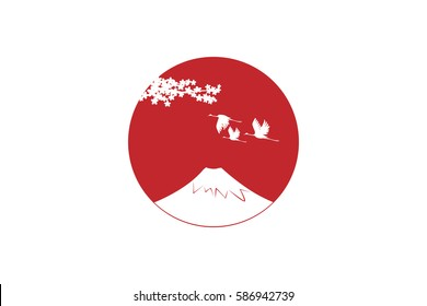 Japan Flag with white Fuji mountain and Crane birds on the Big red sun.Vector illustration.