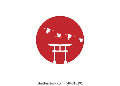Japan Flag with white Torii Gate and Crane birds on the Big red sun.Vector illustration.