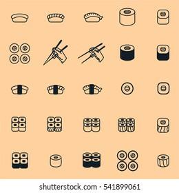 Japan Food Sushi Minimal Flat Line Stroke Icon Pictogram Symbol Illustration Set Collection