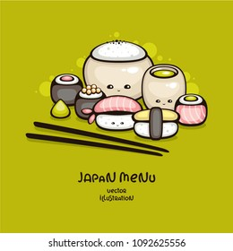 Japan food vector illustration. Cute sushi and rolls. Template for menu cover and sushi bar decoration.