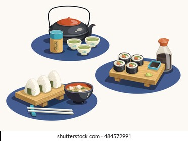 Japan food - vector illustrations- sushi lunch