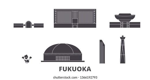 Japan, Fukuoka flat travel skyline set. Japan, Fukuoka black city vector illustration, symbol, travel sights, landmarks.
