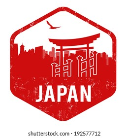 Japan grunge rubber stamp on white, vector illustration