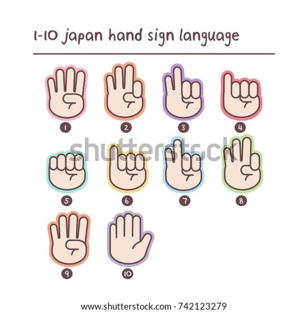 One to ten hand count. Number set of