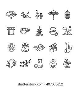 Japan Icon Black Outline Set. Vector illustration