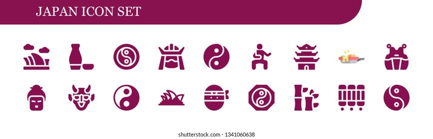 japan icon set. 18 filled japan icons.  Collection Of - Opera house, Sake, Yin yang, Samurai, Martial arts, Pagoda, pan, Kendo, Geisha, Hannya, Ninja, Bamboo, Room divider