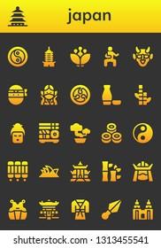 japan icon set. 26 filled japan icons.  Simple modern icons about  - Yin yang, Pagoda, Blossom, Martial arts, Hannya, Ninja, Kamon, Sake, Bamboo, Geisha, Sushi, Bonsai, Room divider