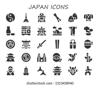 japan icon set. 30 filled japan icons.  Simple modern icons about  - Yin yang, Tokyo, Ninja, Chopsticks, Onigiri, Sake, Sushi, Pagoda, Opera house, Kimono, Bonsai, Kamon, Katana