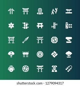 japan icon set. Collection of 25 filled japan icons included Nunchaku, Ninja, Torii, Yin yang, Japanese, Bonsai, Tatami, Yen, Torii gate, Sensu, Kunai, Tonfa, Katana, Bamboo, Shuriken