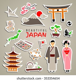Japan icon set. Isolated sticker icons. Travel concept. Traditional clothes and cuisine, authentic architecture and nature. Japanese cultural symbols. Colorful cartoon style. Vector illustration.